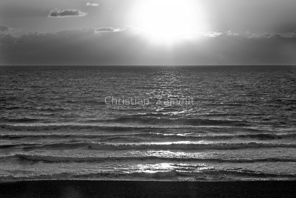 Sunset in Black And White by Christian  Zammit