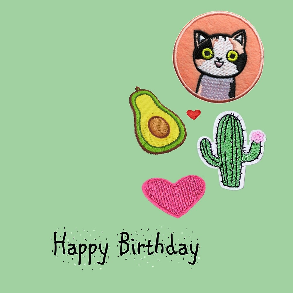 Happy Birthday  Cat Patches by jacqs