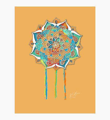 Sunshine Yellow Mandala Photographic Print
