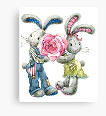 Valentine day. funny bunny Canvas Print
