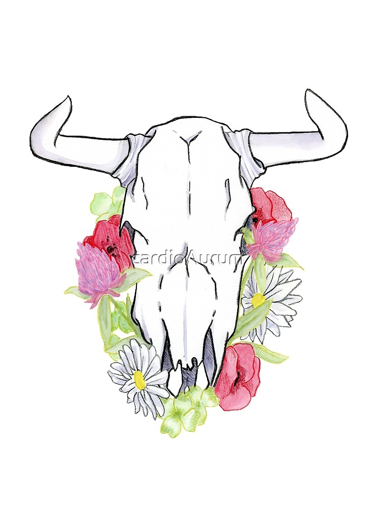 Cow Skull and Clover by cardioAurum