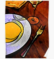Gold Lemon and Fork Poster
