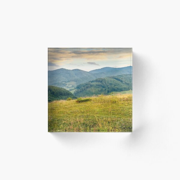grassy meadow in mountains at sunrise Acrylic Block