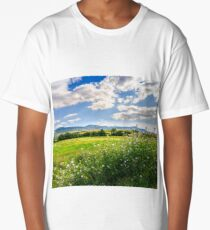 countryside summer landscape with field, forest and mountain ridge Long T-Shirt