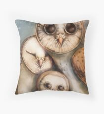 three wise owls Throw Pillow