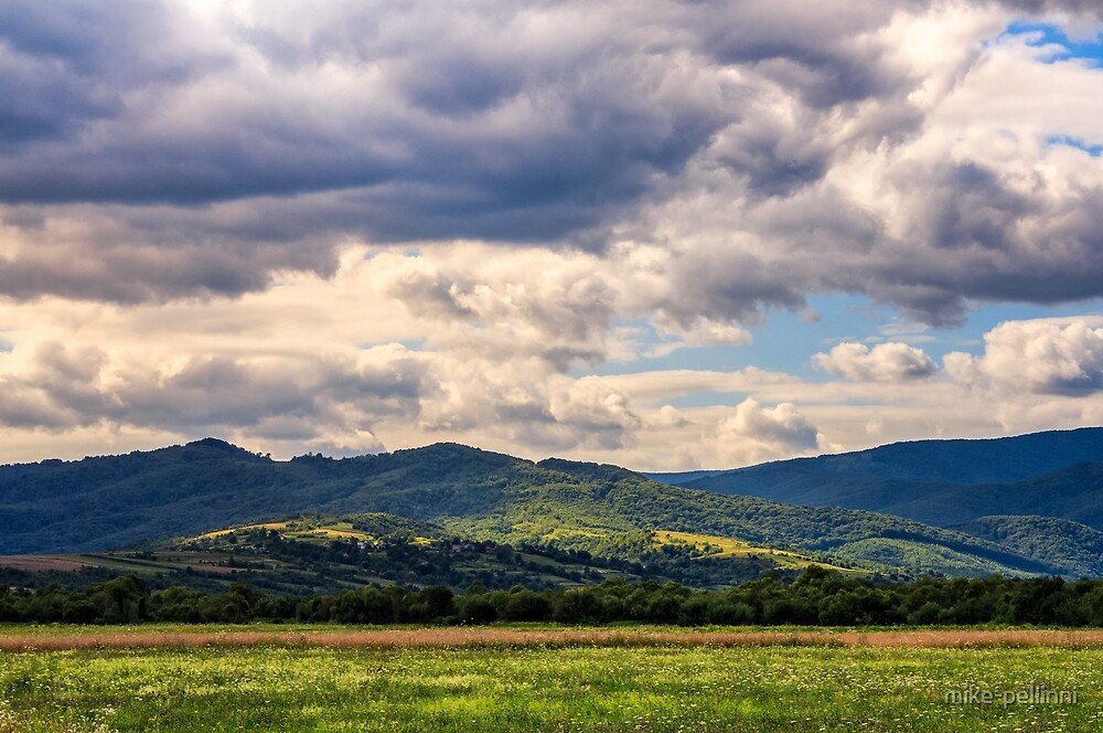 countryside summer landscape with field, forest and mountain ridge by mike-pellinni