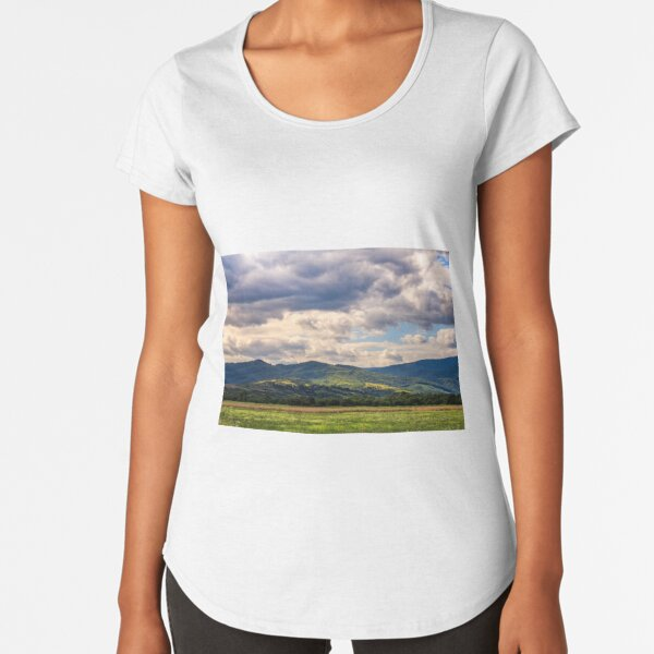countryside summer landscape with field, forest and mountain ridge Premium Scoop T-Shirt