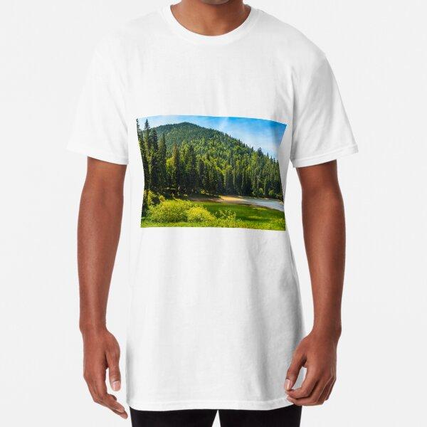 mountain lake among the forest Long T-Shirt