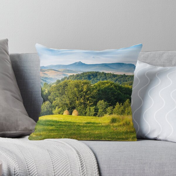 stacks of hay on the hill side Throw Pillow