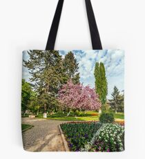 Sakura tree blossom city park Tote Bag