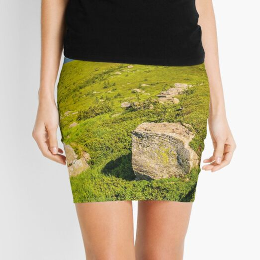 meadow with boulders in Carpathian mountains in summer Mini Skirt
