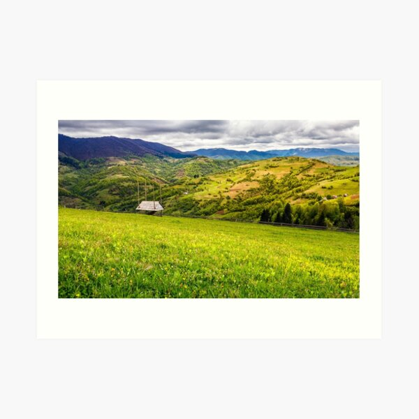 agricultural field in mountains Art Print