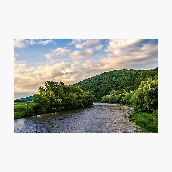 River among the forest in picturesque Carpathian mountains in summer Photographic Print