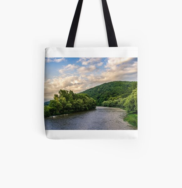River among the forest in picturesque Carpathian mountains in summer All Over Print Tote Bag