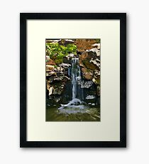 Rocky Cliff Waterfall Framed Print