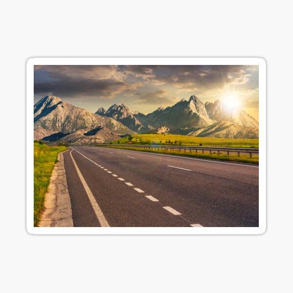 highway to the tatra mountain ridge Sticker