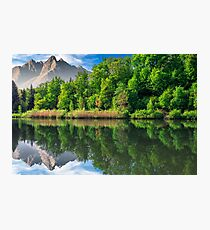 trees near the lake in mountains Photographic Print