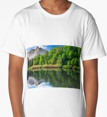 trees near the lake in mountains Long T-Shirt