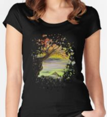 Over Looking Tree Women's Fitted Scoop T-Shirt