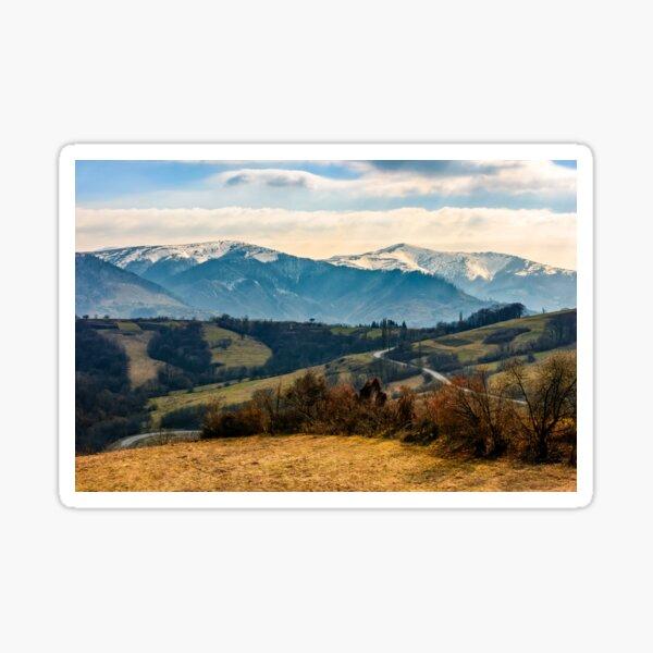 snowy peaks of Carpathian mountain ridge Sticker