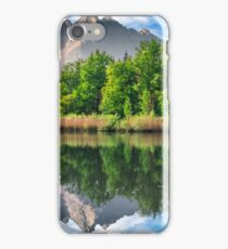 trees near the lake in mountains iPhone Case/Skin