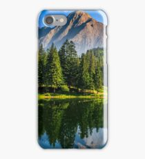 spruce trees near the lake in mountains iPhone Case/Skin