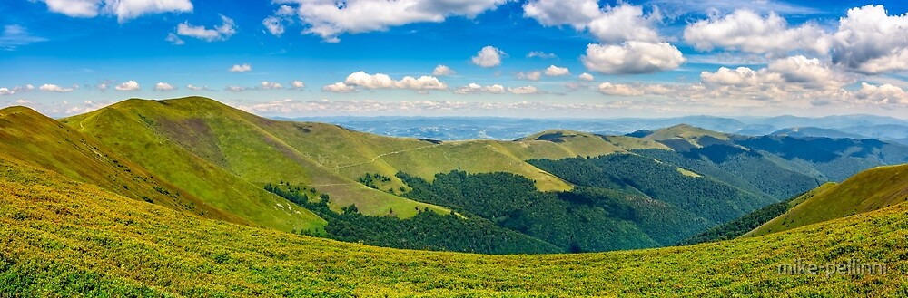 hillside panorama in mountains by mike-pellinni