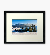 spruce forest on snowy meadow in high mountains Framed Print