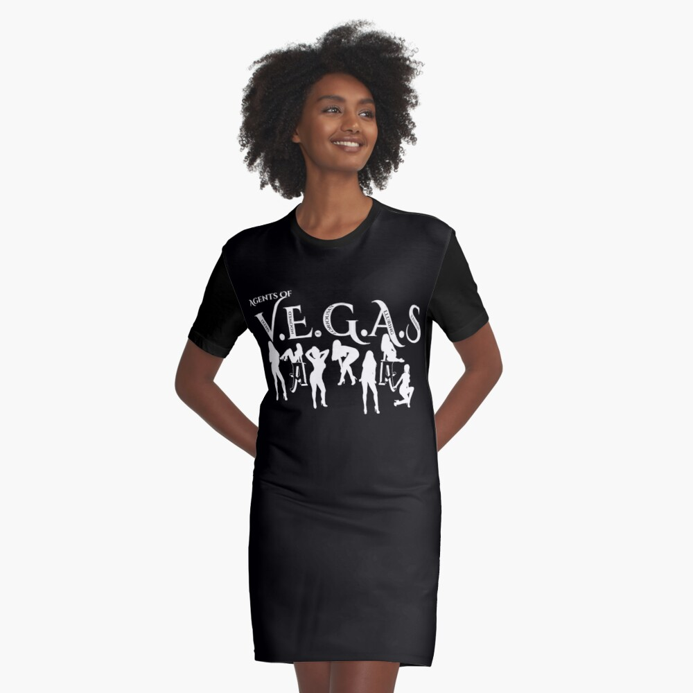 Sexy Agents Of VEGAS Graphic T-Shirt Dress Front