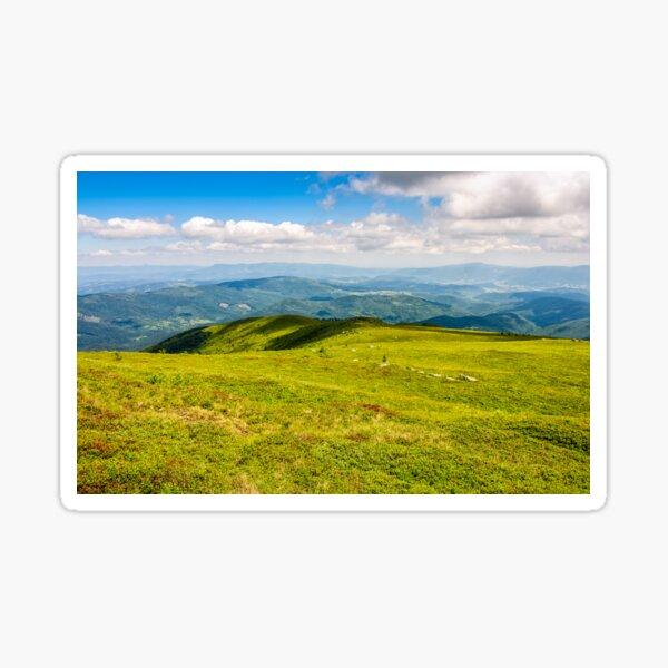 summer meadow on hillside of mountain range Sticker