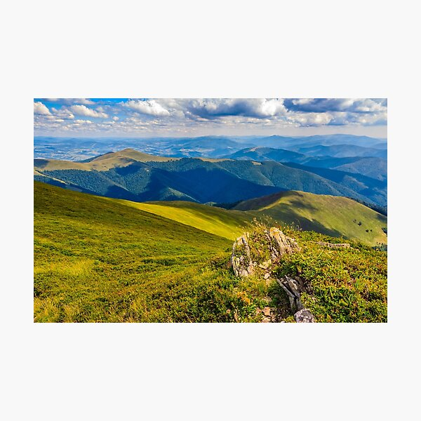meadow with boulders in Carpathian mountains in summer Photographic Print