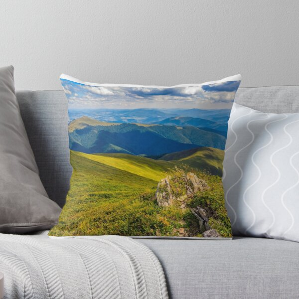meadow with boulders in Carpathian mountains in summer Throw Pillow