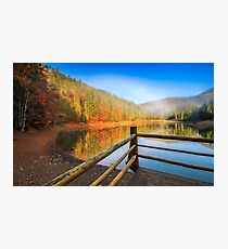 pier on mountain Lake near the forest Photographic Print