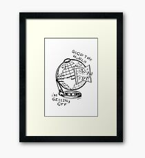 Stop The World - Black Line Small Framed Print