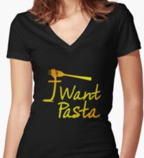 I Want Pasta 002 Women's Fitted V-Neck T-Shirt