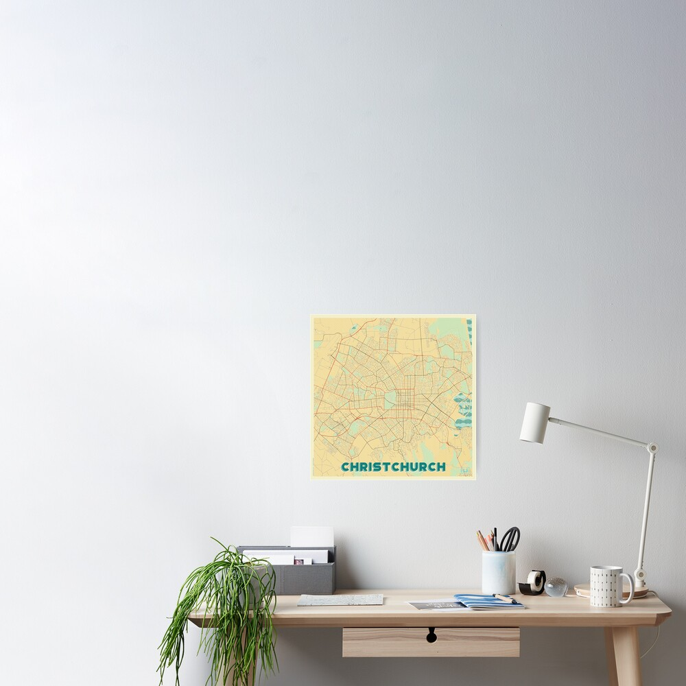 Christchurch Map Retro Poster