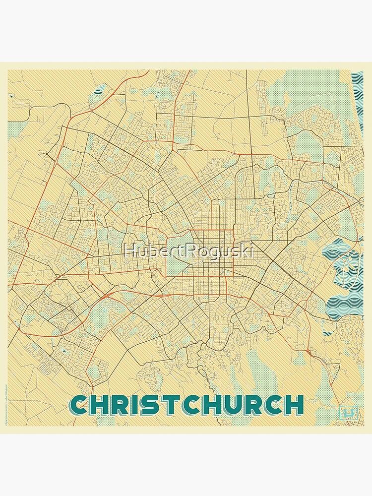 Christchurch Map Retro by HubertRoguski