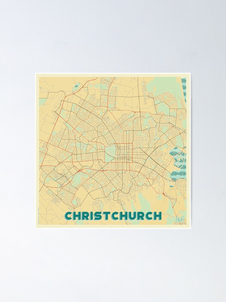Alternate view of Christchurch Map Retro Poster