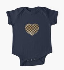 Gold Leaf and Black Ink Checkered Board One Piece - Short Sleeve