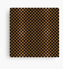 Gold Leaf and Black Ink Checkered Board Canvas Print
