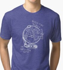 Stop The World - White Line Small Tri-blend T-Shirt