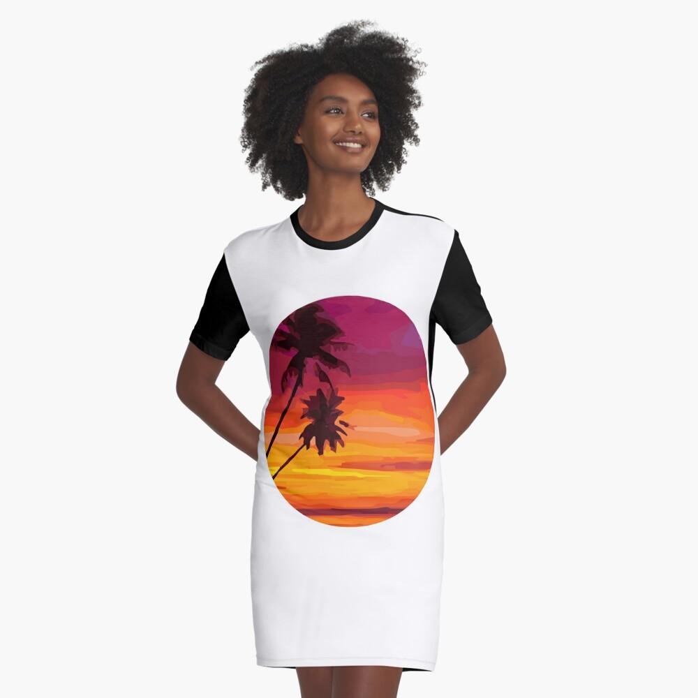 sunset beach Graphic T-Shirt Dress Front
