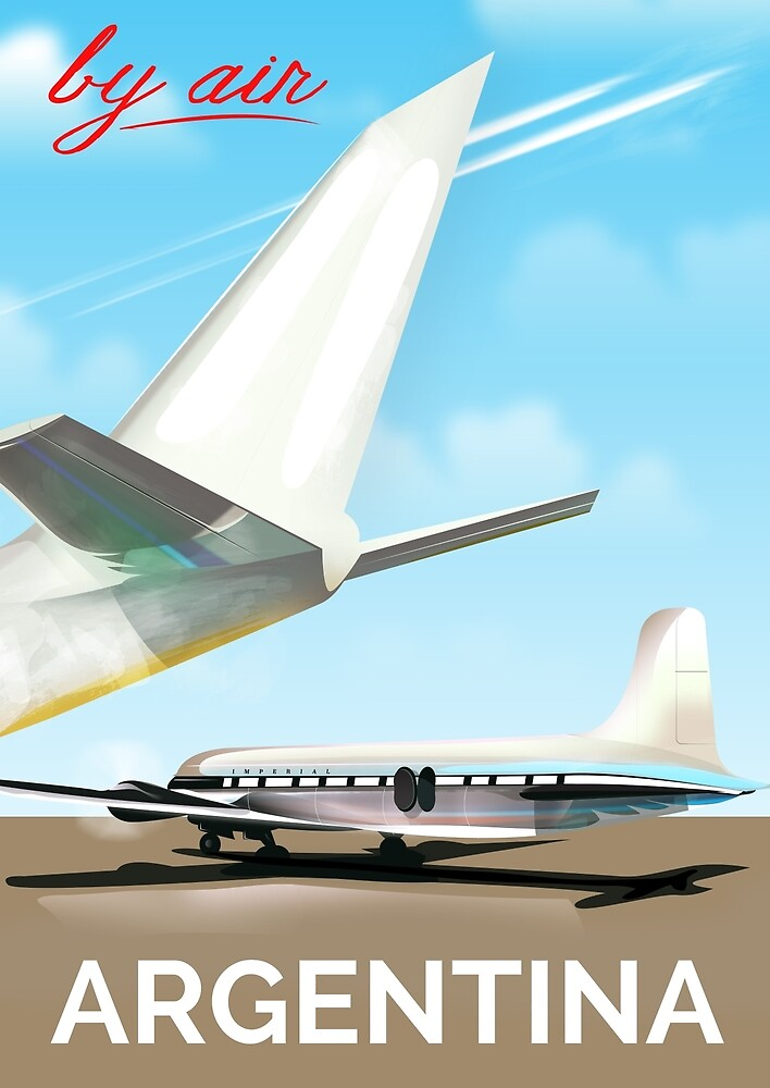 """Argentina """"By Air"""" vintage flight poster by vectorwebstore"""