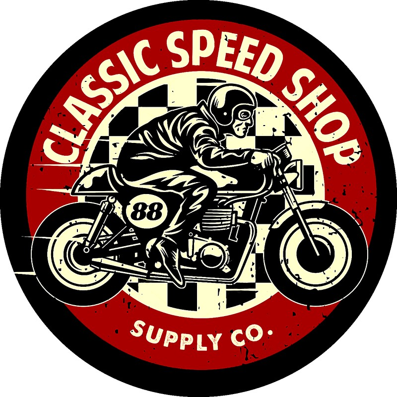 Classic Speed Shop Motorbike Vintage Rounded Emblem Stickers By - Classic motorcycle custom stickers