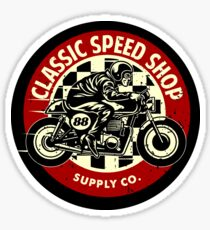 Classic Speed Shop Motorbike Vintage Rounded Emblem Sticker