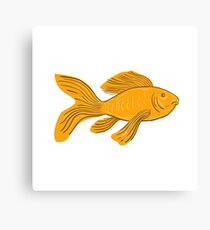 Gold Butterfly Koi Swimming Drawing Canvas Print