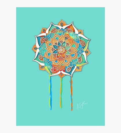 Turquoise Peace Mandala Photographic Print