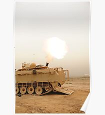 A M120 Mortar system is fired out of a M113 Armored Personal Carrier. Poster