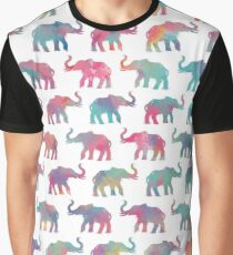 Elephants on Parade in Watercolor Graphic T-Shirt
