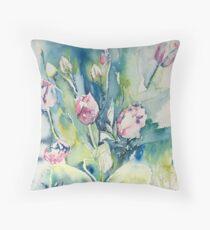 Spring watercolour tulips Throw Pillow